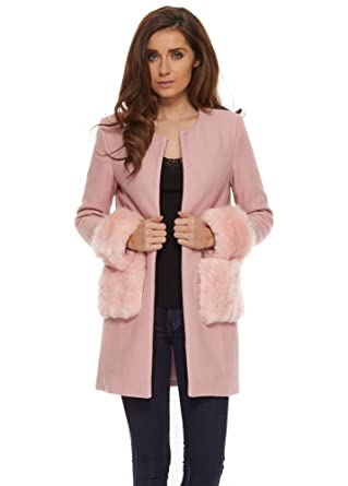 Vera & Lucy Pink Short Coat With Faux Fur Cuffs & Pockets Large ...