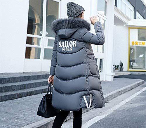 Anteriori Giacca Coat Donna Di Moda Piumini Invernali Transizione Grau Tasche Manica Giovane Cerniera Abbigliamento Con Monocromo Lunga Cappotto Cappuccio wqaf8w