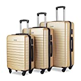 Luggage Set Spinner Hard Shell Suitcase Lightweight Luggage - 3 Piece (20'' 24'' 28'') - Galaxy (Champagne)