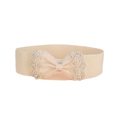 Cinturón ancho para mujer, decoración de gasa, falda elástica ...