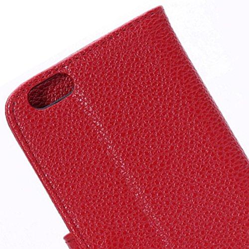 Custodia cover PORTAFOGLI LITCHI TEXTURE con supporto ROSSO per Iphone 6 plus + pellicola protettiva