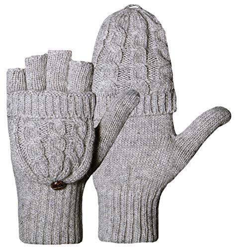 Loritta Women Knit Wool Gloves Fingerless Winter Warm Flip Gloves Mittens