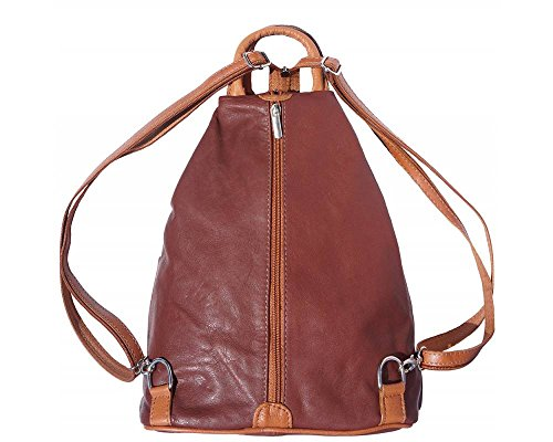 Florence Leather 207 - Bolso mochila  para mujer negro, Bordeaux & Tan (multicolor) - 207 marrón y marrón claro