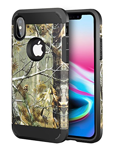 iPhone Xs Case Camo, iPhone X Case Camo, iPhone Xs/X Dual Layer Camouflage Tree Shockproof Protective Case TPU Bumper Hard PC Back Case Cover Compatible Apple iPhone Xs/X 5.8 inch - Camouflage Case