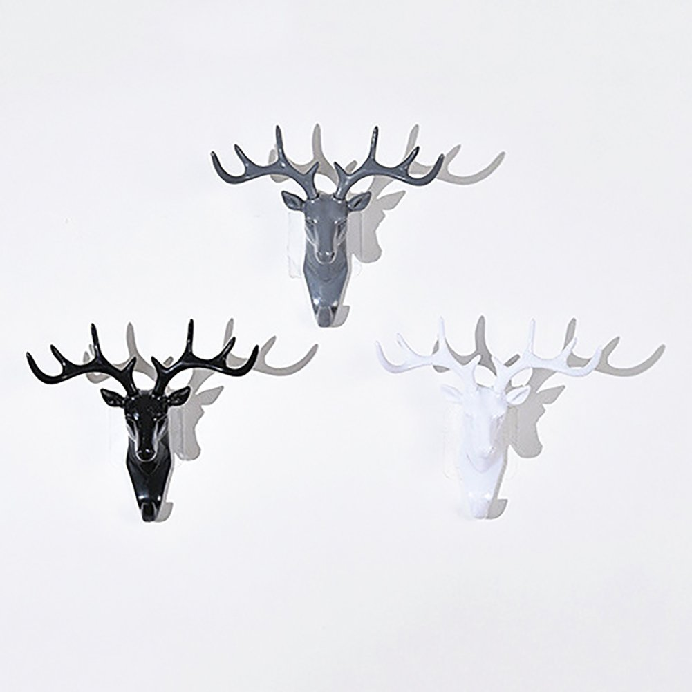 Colorido Fashion Deer Head Antlers Self Adhesive Hook Keys Hat Holder Wall Door Hanger size Medium (White) by Colorido (Image #2)
