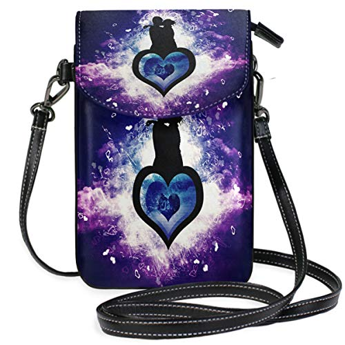 Valentine's Day Love Wallpaper (2) Small Crossbody Bag Cell Phone Pouch Womens Mini Leather Shoulder Bags