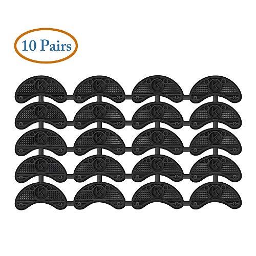 10 Pairs Heel Plates Shoe Heel Taps Heel Repair Pad Replacement with Nails, Black