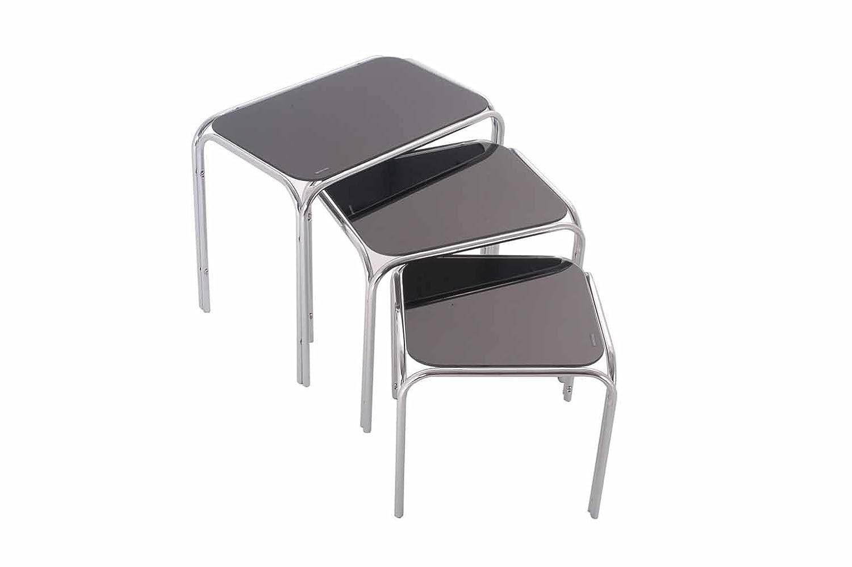 ASPECT Lisbon Nesting/Side End Tables, Large 46 x 30 x 39cm/Medium 36.5 x 30 x 34 cm/Small 31.5 x 30 x 29 cm, Set of 3, Clear B012HJM8NI