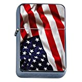 Vintage American Flag Flip Top Oil Lighter D4 Patriotic Freedom American Heroes Veterans