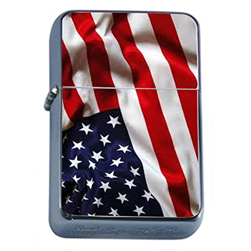 Vintage American Flag Flip Top Oil Lighter D4 Patriotic Freedom American Heroes Veterans by Perfection In Style