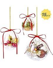 GWHOLE 15 Piezas Bolas de Navidad Transparente en Diámetro 6/8/10cm Decoraciones Colgante para Árbol de Navidad, con Cuerda Cinta Rojo