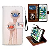 iPhone 6/6S Plus Phone Wallet Case Ostrich TPU Leather Flip Cover with Card Slot Wallet Case for iPhone 6/6S Plus