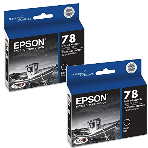 MULTI-PACK OF 2: Genuine Epson No. 78 Hi-Def Standard Capacity BLACK Ink Cartridge For Epson Stylus Photo R Series & Artisan 50 Printers (2 Pack): BLACK T078120 (Standard Rx580)