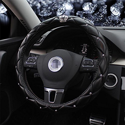 Full Sparkly Rhinestone car Steering Wheel Cover Universal Leather Steering Wheel Cover Auto Car Styling Interior Decor Accessories (crown black)