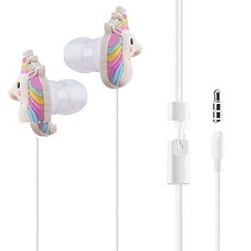 XHKCYOEJ Auriculares Intrauditivos con Cordón/Alambre/Auriculares/Unicornio /Rainbow/Caricatura/