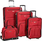 Rockland Luggage Skate Wheels 4 Piece Luggage Set, Red, One Size image