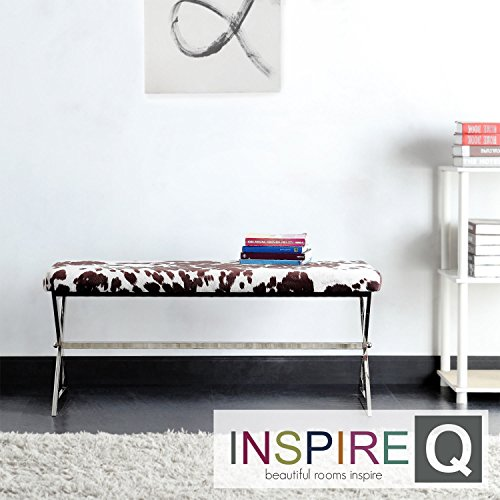 Metro Shop INSPIRE Q Southport Cowhide Print 40-inch Metal Bench