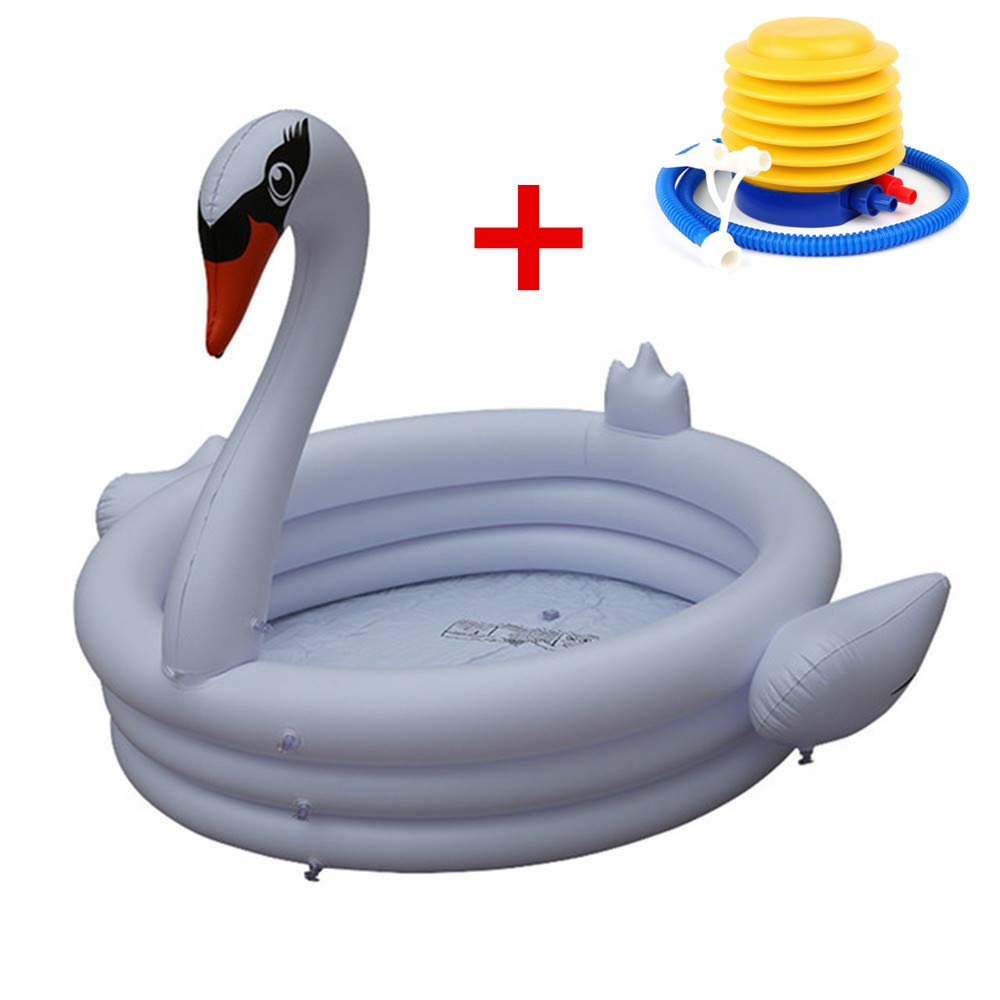 Miya Portable Lovely Swimming Paddling Pool for Kids Baby with Inflator pump,Summer Environmentally friendly Inflatable Family Play Pool Children Bathtub for Indoor&Outdoor Play Toys Garden-White Swan by MIYA LTD