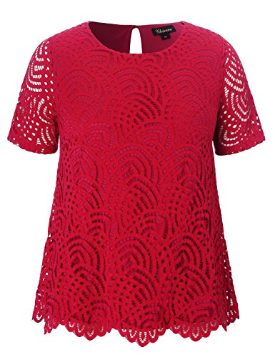 Chicwe Women's Plus Size Smart Scalloped Lace Solid Top - Casual and Work Blouse Red 1X