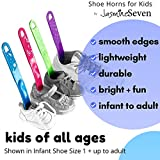 Shoe Horns for Kids   Pack of 4: Blue, Green, Pink, Purple   by Jasmine Seven   Colorful smooth lightweight plastic for all ages