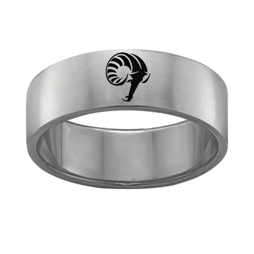 College Jewelry Single Logo Rhode Island Rams Rings Stainless Steel 8MM Wide Ring Band Size 7.5