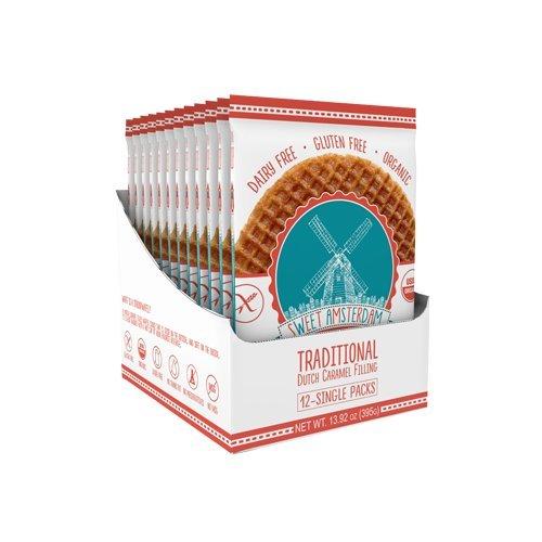 Sweet Amsterdam Organic & Gluten Free Stroopwafel Snacks, Caramel, 12 Count ()