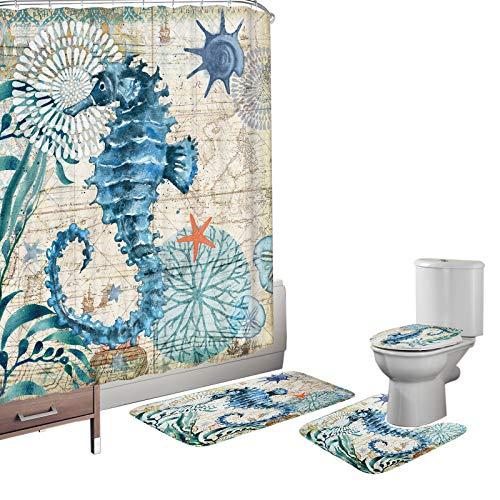 (Amagical Ocean Sea Horse Animal Seashell Starfish Pattern 16 Piece Bathroom Mat Set Shower Curtain Set Non Slip Bath Mat Contour Mat Toilet Cover Waterproof Shower Curtain with 12 Hooks)