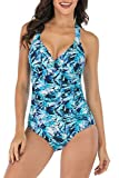 fitglam One-Piece Women's Swimsuits Moderate Monokini Bathing Suits Plunge Halter Ruched Tummy Control