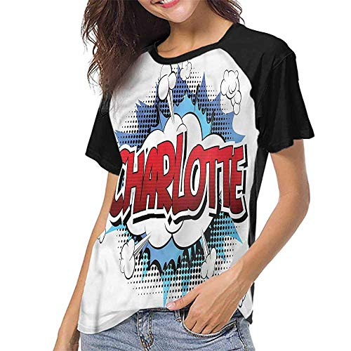 Women's Short Sleeve Shirts,Charlotte,Female Name Cartoon S-XXL(This is for Size Extra Large),Tops for Lady Girls ()