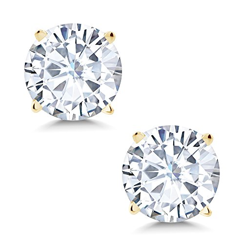 (Charles & Colvard 6mm 1.60cttw DEW White Created Moissanite 14K Yellow Gold Friction Back Round 4 Prong Stud Earrings)