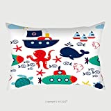 Custom Satin Pillowcase Protector Vector Sea Seamless Pattern With Whales Ship Anchors Flags Cute Childish Background With 295378685 Pillow Case Covers Decorative