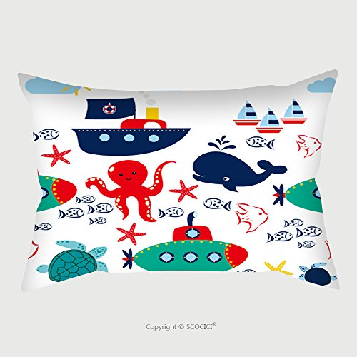 Custom Satin Pillowcase Protector Vector Sea Seamless Pattern With Whales Ship Anchors Flags Cute Childish Background With 295378685 Pillow Case Covers Decorative by chaoran