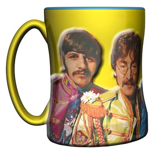 The Beatles Sgt Pepper Color Sculpted Coffee Mug by Boelter (Beatles Mug)