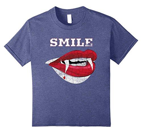 Kids Vampire Smile Vintage Clothing for Vampire Lovers 10 Heather Blue