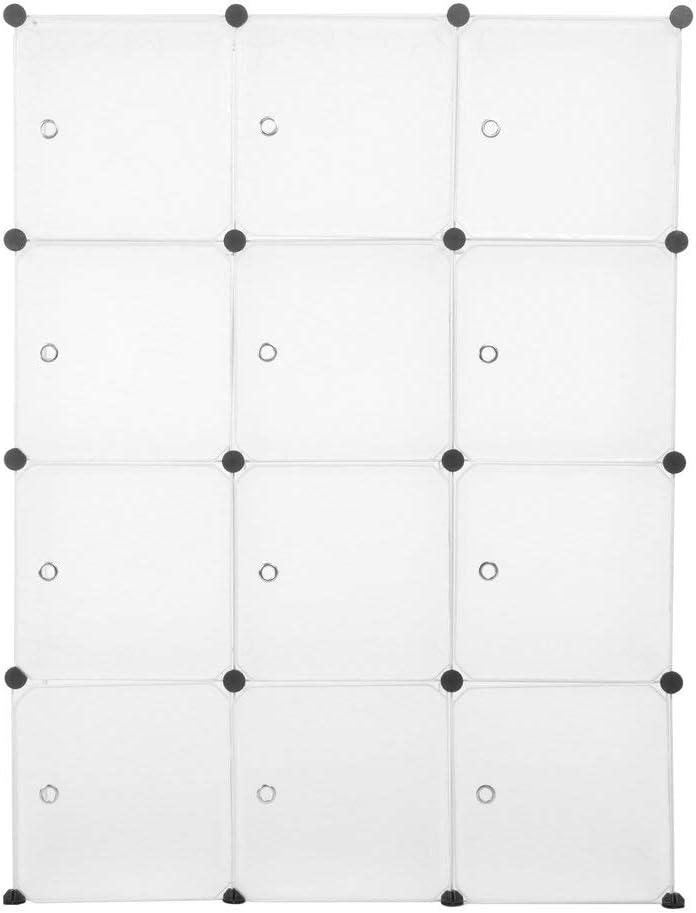 12 Cubi Armadietto Fai da Te Camera da Letto Ingresso 111x37x147cm Mobiletto in Plastica per Il Bagno Guardaroba Modulare Armadietto Modulare Bianco