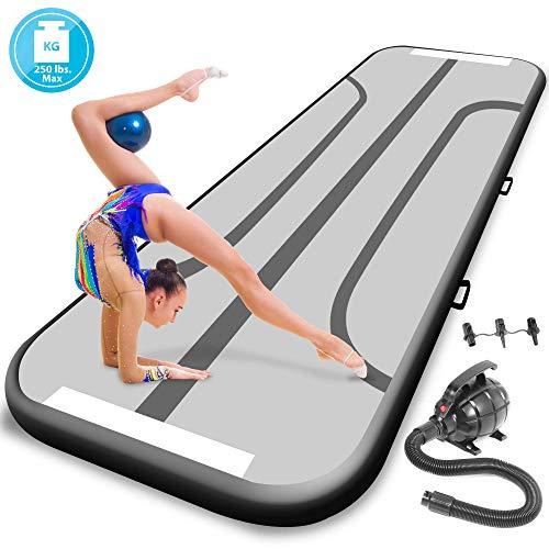 SereneLife Gymnastics Inflatable Air Tumbling Mat - 13 Ft Outdoor/Home Indoor Gymnastics Mat Air Track Tumbling Mat - Floor Tumble Track Mats for Gymnastics, Yoga, Cheerleading SLGM4KB (Black) (Inflatable Yoga Block)