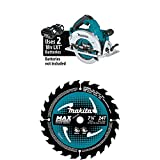 Makita XSH06Z 18 Volt X2 LXT Lithium-Ion (36V) Brushless Cordless 7-1/4 inch Circular Saw with three B-61656 7-1/4 inch 24T Carbide-Tipped Max Efficiency Circular Saw Blades