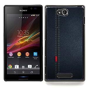 "Qstar Arte & diseño plástico duro Fundas Cover Cubre Hard Case Cover para Sony Xperia C (Patrón Seam paño de la tela Diseño Textil"")"