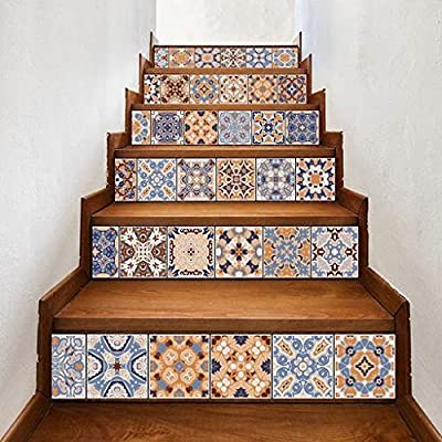 "Lyperkin Art Decor,Fashion 3D DIY Ceramic Tiles Patterns Staircase Stair Floor Sticker Wall Decal,Stair Stickers Waterproof Staircase Sticker Murals Stair Removable for Stairs 7"" W x 39"" L x 6Pcs"