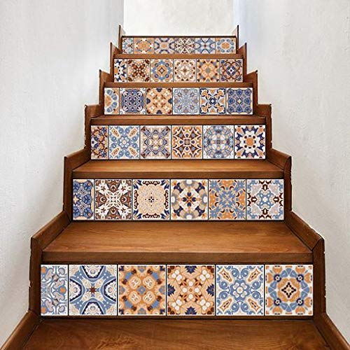 Pattern Floor Ceramic (Lyperkin Art Decor,Fashion 3D DIY Ceramic Tiles Patterns Staircase Stair Floor Sticker Wall Decal,Stair Stickers Waterproof Staircase Sticker Murals Stair Removable for Stairs 7