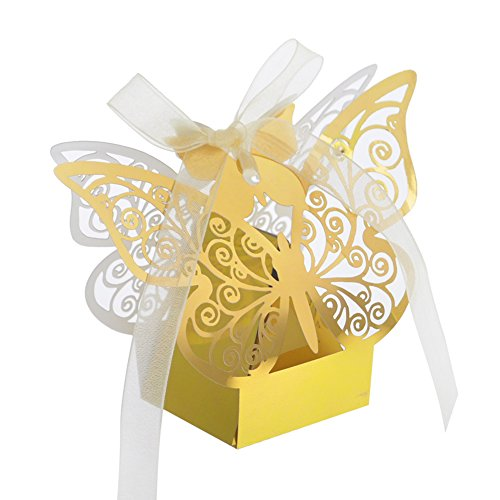 Aspire 50 PCS Butterfly Laser Cut Favor Boxes Wedding Gift Boxes for Party -