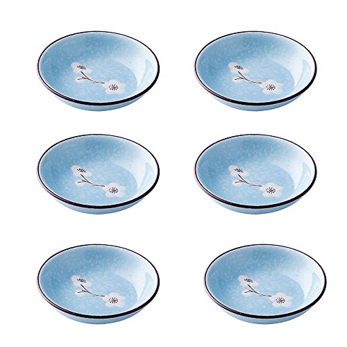 (SOCOSY Colorful Ceramic Plum Blossom Sauce Dish Sushi Dipping Bowls Appetizer Plates Porcelain Serving Dish Seasoning Dishes 4''(Set of 6))