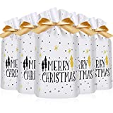 Kitchen & Housewares : Frienda 30 Packs Treat Bags with Drawstring Candy Bags, Plastic Favor Bag Drawstring Cookie Bags for Christmas Wedding Party Birthday Engagement Holiday Favor (Merry Christmas Tree Print)