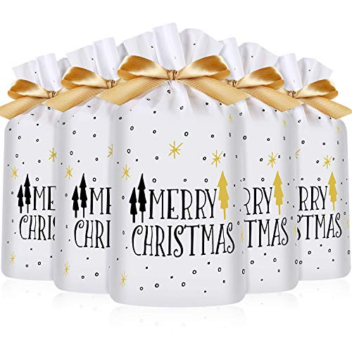 (Frienda 30 Packs Treat Bags with Drawstring Candy Bags, Plastic Favor Bag Drawstring Cookie Bags for Christmas Wedding Party Birthday Engagement Holiday Favor (Merry Christmas Tree Print))