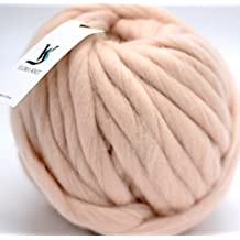 FloraKnit 100% Merino Wool Super Chunky Yarn Bulky Roving Yarn for Arm Knitting,Crocheting Felting,Making Rugs Blanket and Crafts (40mm-33 Yards, PALE PINK)