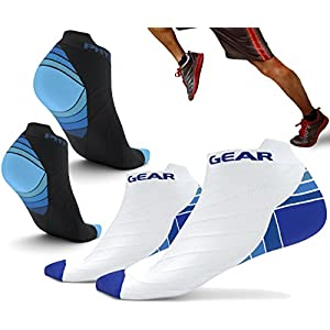 Physix Gear Sport Compression Running Socks for Men & Women - Best Athletic Low Cut Socks with No Show Ankle Design - Premium Quality Stitching - Boost Stamina Circulation & Recovery (BLU BLK S/M)