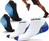 Cheap Physix Gear Sport Compression Running Socks for Men & Women – Best Athletic Low Cut Socks with No Show Ankle Design – Premium Quality Stitching – Boost Stamina Circulation & Recovery (BLU BLK S/M)