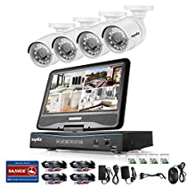 SANNCE 8CH 720P HD Video Monitoring System with 1080N 10.1'' LCD Combo and (4) Surveillance Cameras Support P2P Technology, QR Code Scan Phone Remote Access Viewing -No HDD