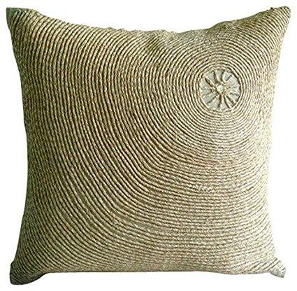 Amazon.com: Hecho a mano beige almohada cubierta, fibra ...