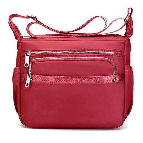 Léger Poids Noir Sport De TENGGO en Rouge Imperméable Outdooors Femmes Nylon Bags Crossbody Shoulderbags qwWnZUCRE